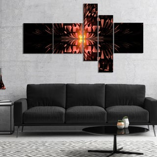 Designart 'Brown Butterfly Pattern on Black' Abstract Art on Canvas