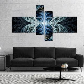 Designart 'Glowing Blue Fabulous Fractal Art' Abstract Canvas Art Print