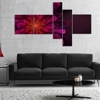 Designart 'Large Pink Alien Fractal Flower' Floral Canvas Art Print