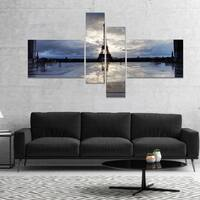 Designart 'Reflection of Paris Eiffel TowerWith Clouds' Extra Large Canvas Art Print - White