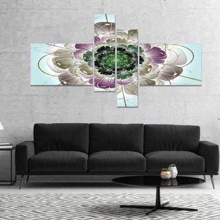 Designart 'Dark Blue Fractal Flower Pattern' Abstract Wall Art Canvas