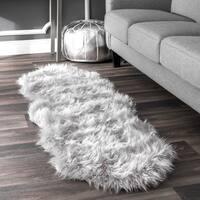 nuLOOM Double Faux Flokati Sheepskin Solid Soft and Plush Cloud Light Grey Shag Runner Rug - 2' x 6'