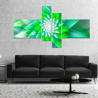 Designart 'Large Green Alien Fractal Flower' Floral Canvas Art Print