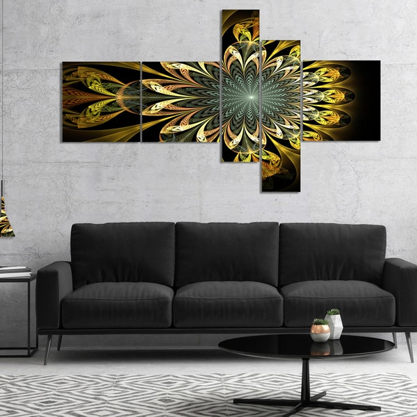 Designart 'Dark Yellow Digital Flower' Abstract Wall Art Canvas