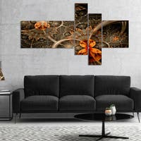 Designart 'Dark Orange Symmetrical Flower' Abstract Wall Art Canvas