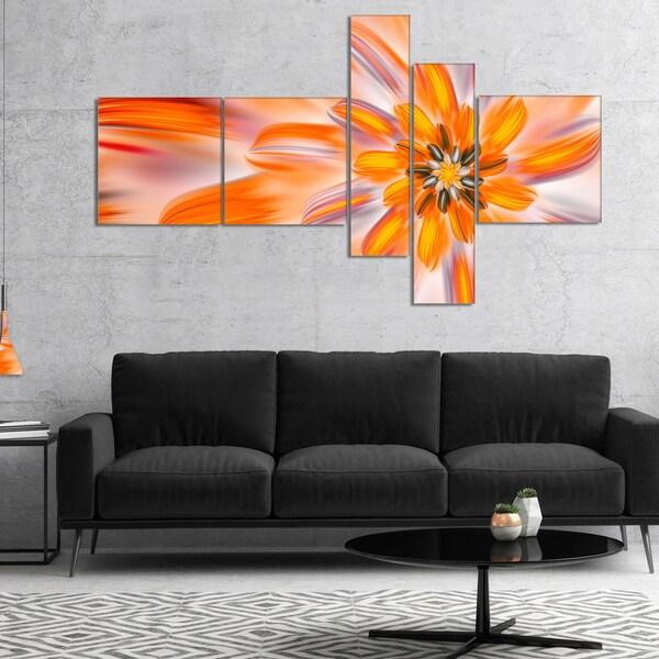 Designart 'Dance of Fractal Yellow Petals' Abstract Wall Art Canvas