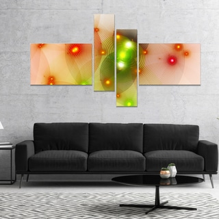 Designart 'Orange Fractal Lights in Fog' Abstract Wall Art Canvas