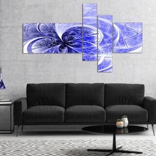 Designart 'Blue Light Fractal Flower Pattern' Abstract Canvas Art Print