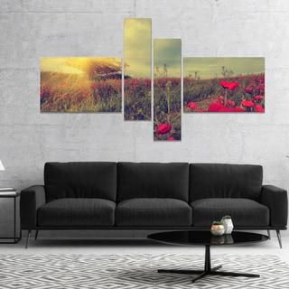 Designart 'Vintage Photo of Poppies at Sunset' Floral Canvas Art Print