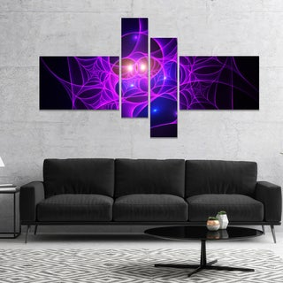 Designart 'Bright Purple Fractal Cobweb' Abstract Canvas Art Print