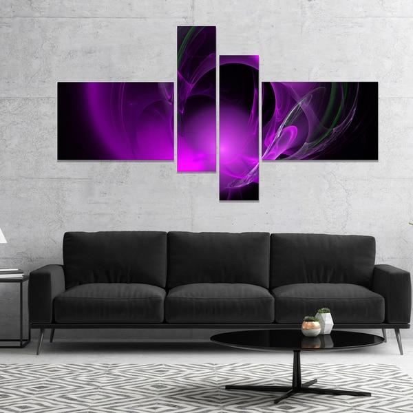 Designart 'Purple Fractal Galactic Nebula' Abstract Wall Art Canvas