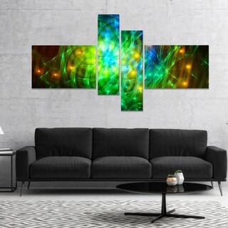 Designart 'Green Fractal Symphony of Colors' Abstract Wall Art Canvas