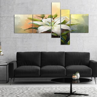 Designart 'White Lily Flower Oil Painting' Floral Canvas Art Print