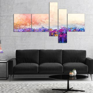 Designart 'Abstract Flower Watercolor Painting' Large Floral Canvas Art Print