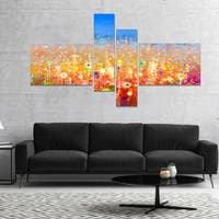 Designart 'Abstract Flower Field Watercolor Painting' Large Floral Canvas Art Print - YELLOW