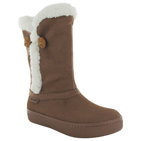 Crocs Womens Modessa Synthetic Suede Button Boots