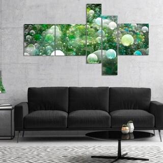 Designart 'Green Fractal Molecule Pattern' Abstract Wall Art Canvas