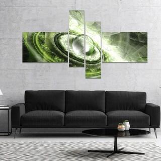Designart 'Green Fractal Flying Saucer' Abstract Canvas Art Print