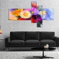Designart 'Colored Gerbera Flowers Bouquet' Floral Canvas Art Print - White