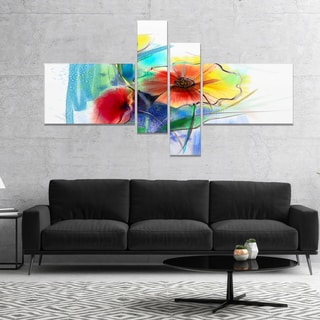 Designart 'Watercolor Multi color Flower Illustration' Floral Canvas Art Print