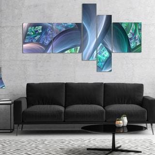 Designart 'Blue Fractal Exotic Plant Stems' Abstract Canvas Art Print