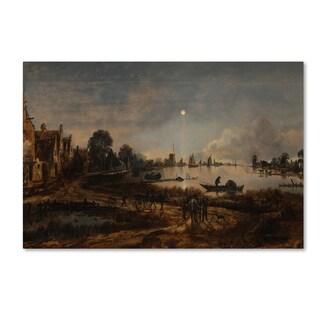 Aert van der Neer 'River View By Moonlight' Canvas Art