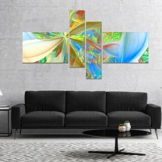 Designart 'Yellow Fractal Exotic Plant Stems' Abstract Canvas Art Print