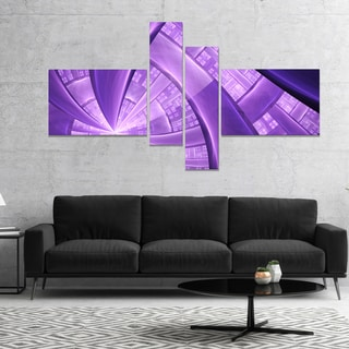 Designart 'Purple Fractal Exotic Plant Stems' Abstract Canvas Art Print