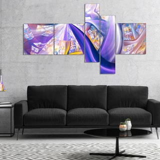 Designart 'Purple Gold Fractal Plant Stems' Abstract Canvas Art Print