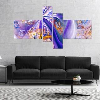 Designart 'Purple Yellow Fractal Curves' Abstract Wall Art