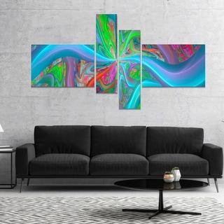 Designart 'Blue Green Fractal Curves' Abstract Canvas Art Print
