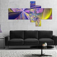 Designart 'Purple Yellow Fractal Curves' Abstract Canvas Art Print