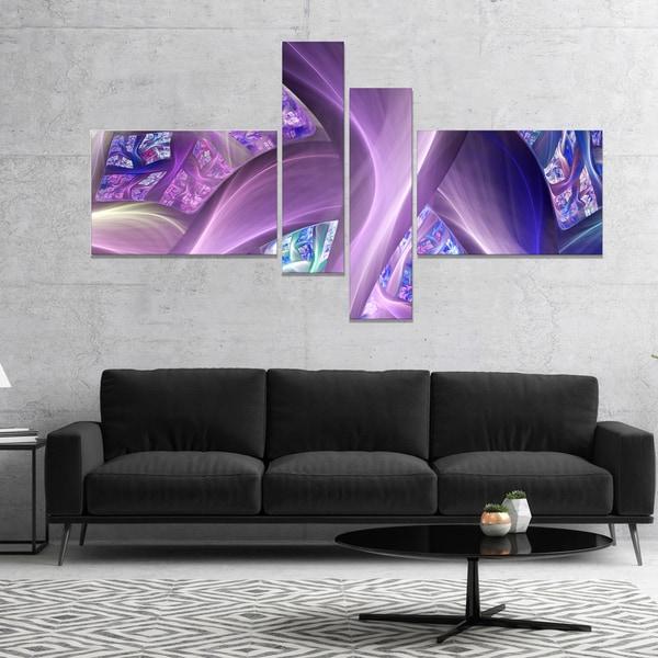 Designart 'Purple Blue Fractal Curves' Abstract Canvas Art Print