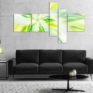 Designart 'Light Green Fractal Spiral Flower' Abstract Canvas Art Print