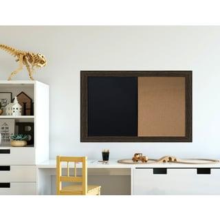 Black Tan Oak Framed Chalkboard Corkboard Combo Ready to Hang.