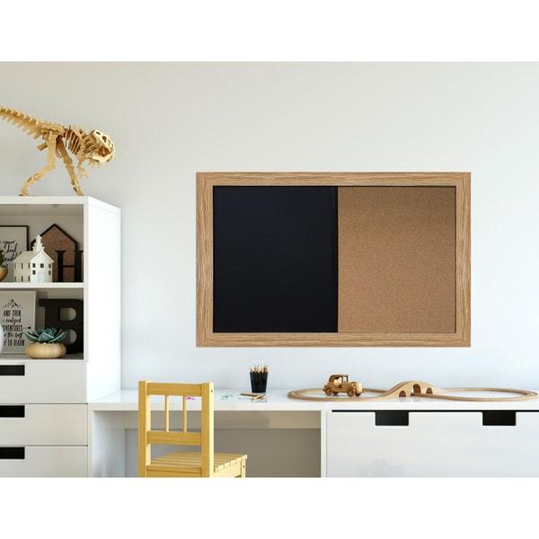 Shop Medium Oak Brown Framed Chalkboard Corkboard Combo Ready to ...