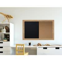 Medium Oak Brown Framed Chalkboard Corkboard Combo Ready to Hang.
