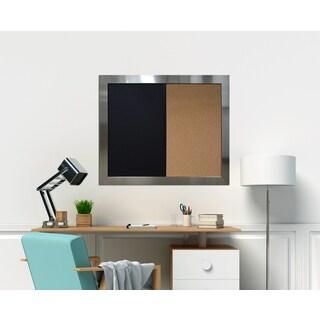 Stainless Steel Framed Chalkboard Corkboard Combo Ready to Hang.