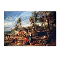 Peter Paul Rubens 'Milkmaids With Cattle In A Landscape' Canvas Art