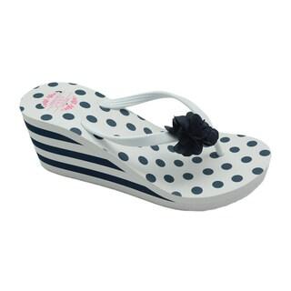 Nikky Leala White Comfort Wedge Flip Flops