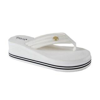 Nikky Kalet White Wedge Flip Flops