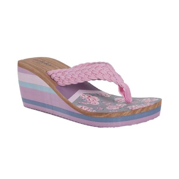 Pink Leather Flip Flops