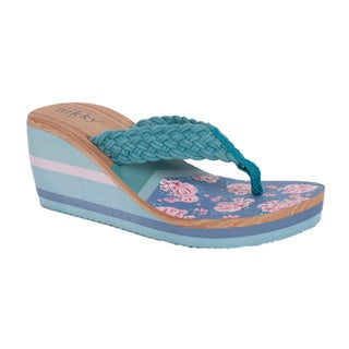 Nikky Kipp Blue Wedge Flip Flops
