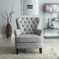 Bentley Button Tufted Accent Chair with Nailhead Trim Gray White Color