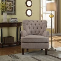Bentley Button Tufted Accent Chair with Nailhead Trim, Taupe Color