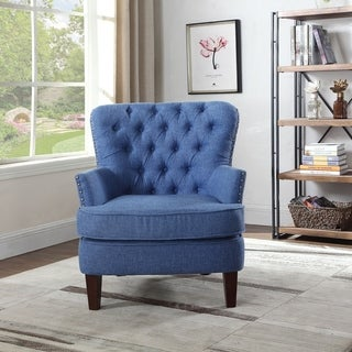 Bentley Button Tufted Accent Chair with Nailhead Trim, Blue