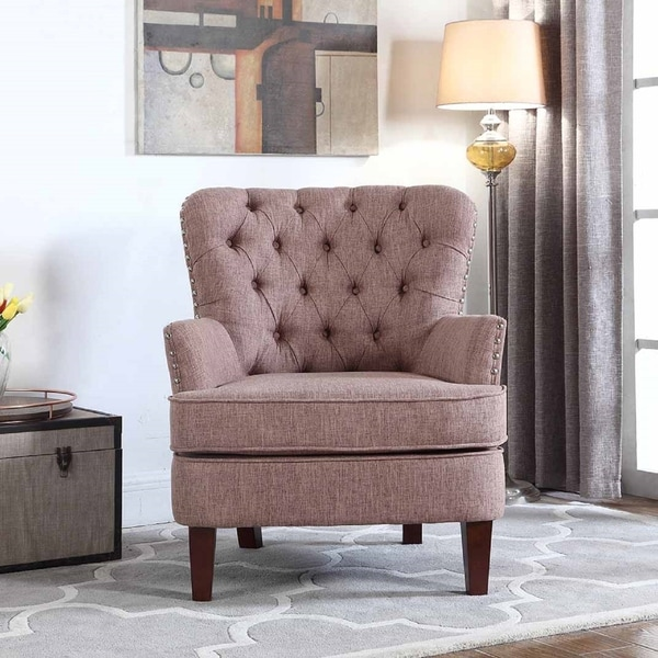 Average Price Accent Chair: Shop Bentley Button Tufted Accent Chair With Nailhead Trim