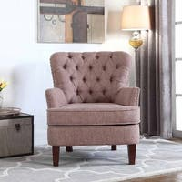 Bentley Button Tufted Accent Chair with Nailhead Trim, Brown Color