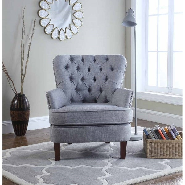 Bentley Button Tufted Accent Chair with Nailhead Trim Gray Color