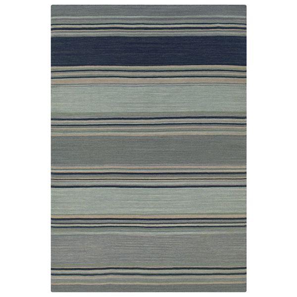 Rizzy Home Blue New Zealand Wool Striped Handmade Flatweave Swing Area Rug - 8' x 10'
